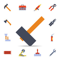 color a hammer icon. Detailed set of color construction tools. Premium graphic design. One of the collection icons for websites, web design, mobile app