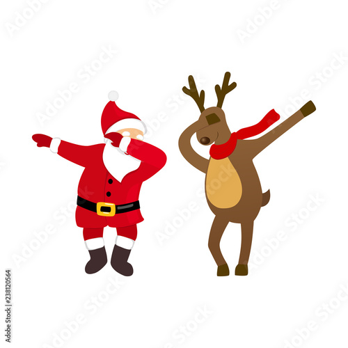 Christmas Dancing Cartoon.Funny Santa And Deer Dancing Dab Move Quirky Cartoon Comic