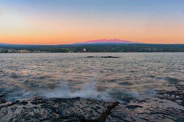 Mauna Loa Vocano as viewed from Hilo Bay at Sunrise, Hawaii's Big Island