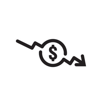 dollar arrow decrease icon. Money arrow symbol. economy stretching rising drop fall down. Business lost crisis decrease. lower cost, reduction bankrupt icon. vector illustration.