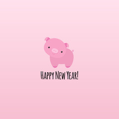 Pig symbol of year 2019 animal sign, little piggy cute funny character, cartoon flat style, minimalist design, text happy new year, for banner, greeting card, surface print, on soft pink background.