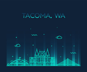 Wall Mural - Tacoma skyline Washington USA vector linear style