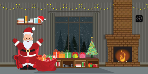 Santa Claus with Christmas tree and gift boxes in Christmas interior.