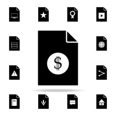 dollar on document icon. File and documents icons universal set for web and mobile