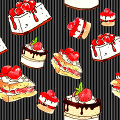 Cake, dessert and pastry. Dessert with chocolate, cream, jam and fruit. Seamless pattern