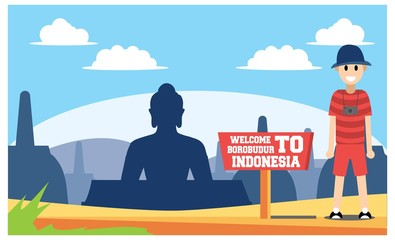 flat illustration of amazing tourist attractions in Indonesia, vector illustration