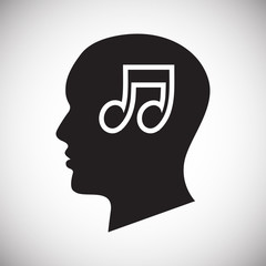 Human head with music icon on white background for graphic and web design, Modern simple vector sign. Internet concept. Trendy symbol for website design web button or mobile app