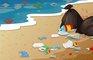 A pollution beach background