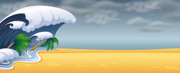 Tsunami hit the beach