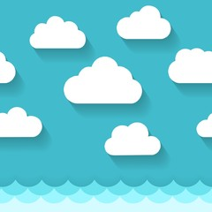 Seascape with clouds. Paper sea or ocean water and blue sky vector pattern