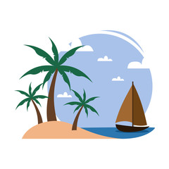 Simple Beach Palm Trees Small Boat Travel Island Illustration