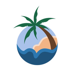 Palm Trees Tropical Circular Sign Travel Island Illustration