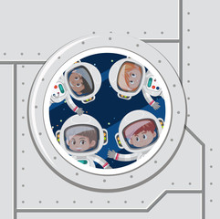 Group of astronaut in space