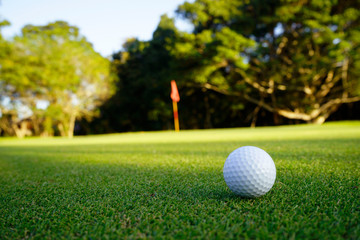 Golf ball on green in beautiful golf course at sunset background. Golf ball on green in golf course at Thailand