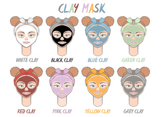 Set mask clay face beauty girl and women. Skin spa procedure, cosmetic clean. Head full face, cartoon style.