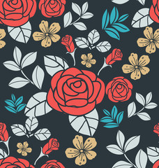 Tuinposter Abstract bloemen Floral seamless pattern5