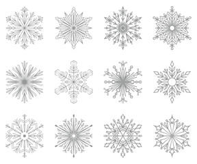 Snowflakes icon collection. Graphic modern grey ornament