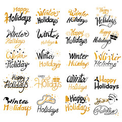 Colorful design of Winter Holidays and Happy New Year typography greetings calligraphy text
