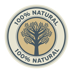 Abstract sign or label with text Natural product