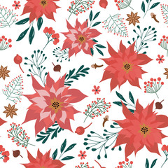 Seamless pattern with Christmas plants and flowers. Editable vector illustration