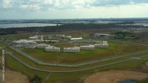Aerial orbit maximum security prison 4k South Florida Reception