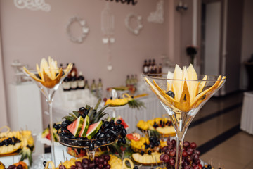 Luxury wedding catering.  Delicious candy bar at wedding recepti