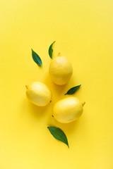Lemons on yellow