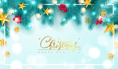 Merry Christmas and Happy New Year.Universal vector background with Golden bow,fir branches, Rowan, stars and garland. Suitable for promotional materials, postcards,posters banners, flyers