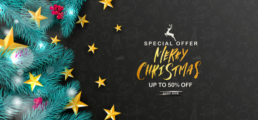 Merry Christmas Sale.Universal vector background with fir branches, Rowan, stars and serpentine. Suitable for promotional materials, postcards,posters banners, flyers. Modern design.