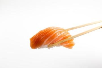 Spoed Foto op Canvas Sushi bar Salmon Sushi on whtie plate