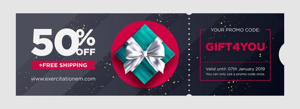 Vector Birthday Gift Coupon. Elegant Christmas Voucher Design. Premium eGift Card Background for E-commerce, Online Shopping. Marketing Business Flyer Template Design, Social Media Graphic.