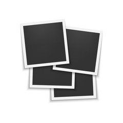 Set of photo frames with shadow. Template for photo, image. White border.