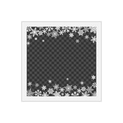 Christmas photo frame with shadow. Blank photo frame with white border. Template photo frame with snowflakes for Christmas photos.
