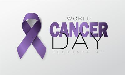 World Cancer Day concept. Lavender Ribbon. Vector illustration.