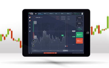 Tablet PC Business chart, uptrend line graph, bar chart stock numbers bull market arrow up and down phone. Dashboard binary option, Ui interface. Financial markets background tablet