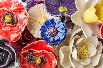 Ceramic decorative flowers bouquet - floral background