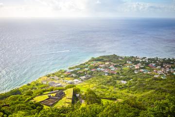 Coastline along a Saint Kitts and Nevis island in Caribbean sea
