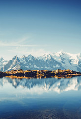 Great Mont Blanc glacier with Lac Blanc. Location Graian Alps, France, Europe.