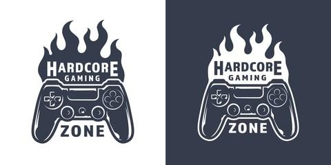 Vintage monochrome gaming logo