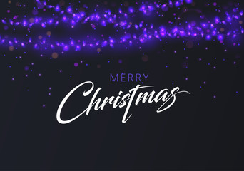 Merry Christmas greeting card with purple decorative lanterns.
