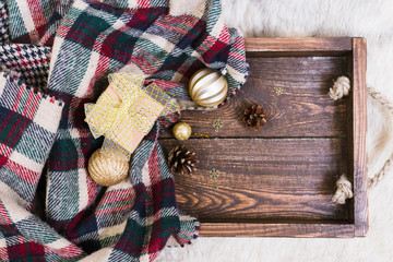 Wooden box with Christmas tree decoration top view