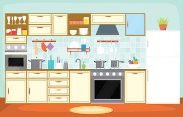 Kitchen Interior Furniture Cutlery Tableware Cooking Flat Illustration