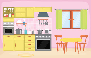Kitchen Interior Furniture Cutlery Tableware Cooking Flat Illustration