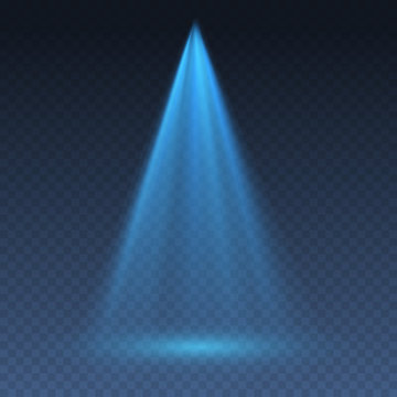 Blue projector effect isolated on transparent background. Vector glow stage light ray or bright scene spotlight beam template.