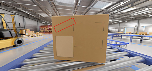 Cardbox mock up in a warehouse - 3d rendering