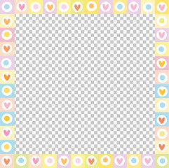 Cute vector square love border made of doodle hearts in pastel colors isolated