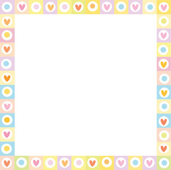 Cute vector square love border made of hand drawn hearts in pastel colors.