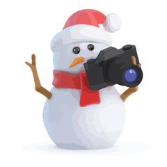 3d Santa snowman takes some holiday snaps