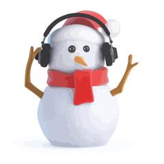 3d Snowman listens on headphones