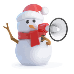 3d Santa snowman with megaphone